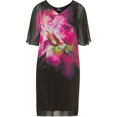 Kirsten Krog Black / Pink Plus Size Flower print silk mix dress ($315) ❤ liked on Polyvore featuring dresses, black, plus size, pink slip, pink silk dress, plus size slip, pink floral dress and silk dress