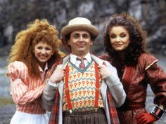 Bonnie Langford (Mel), Sylvester McCoy (the Seventh Doctor), and Kate O'Mara (the Rani).
