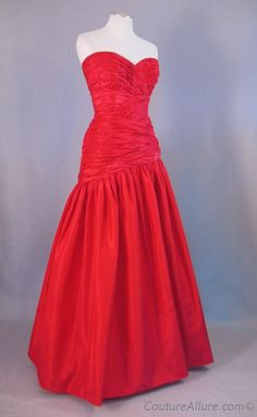 Vintage 80s French Evening Gown Dress Red Silk Small S bust 37 $275 at Couture Allure Vintage Clothing