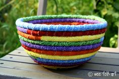 Pixie's Rainbow Coiled Rag Bowl by Wee Folk Art