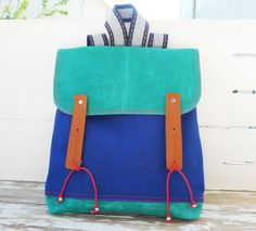 Multicolor Waxed Canvas Backpack Rucksack / Satchel / School / Travel /Messenger / Laptop