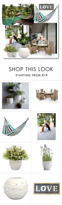 """""""Live love laugh"""" by oxyk23 ❤ liked on Polyvore featuring interior, interiors, interior design, home, home decor, interior decorating, West Elm, Yellow Leaf Hammocks, Dash & Albert and Potting Shed Creations"""