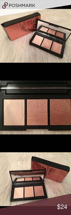 NARS Banc de Sable Highlighter Palette NARS Banc De Sable Highlighter Palette. New and unused 💕 A palette with three, universally flattering highlighters to illuminate the eyes and cheeks, while an ultra-versatile wet/dry formula takes you from sheer shimmer to an intense glow. NARS Makeup Luminizer