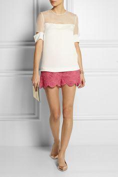 Collette by Collette Dinnigan shorts, Joseph top,  Rossi shoes, Lanvin pouch.