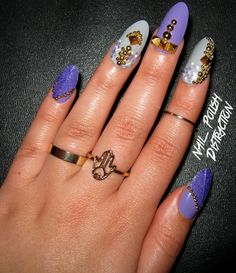 Nail Polish Distraction - Purple and gold nails.