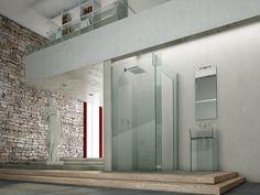 """@megiusspa  dà forma all'espressione dell'incastro perfetto nello shower design: in #Icona, infatti, le lastre di vetro, appositamente tagliate a formare una speciale combinazione di asole, si intrecciano e si fissano """"perfettamente"""" fra loro, creando soluzioni senza l'uso di profili o di sistemi per sostenere la cabina doccia www.gasparinionline.it #design #doccia #shower #interiors #madeinitaly #bathroomideas #creative"""