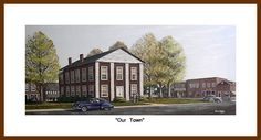 """""""Our Town"""" print.  A circa 1950's view of the court house square in my home town of Yadkinville, NC."""