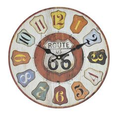 MDF WALL CLOCK ' ROUTE 66' D-34(4)