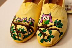 Yellow handpainted custom Owl TOMS shoes by BStreetShoes on Etsy, $129.00