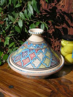 Medium patterned cooking tagine in turquoise