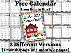 Free 2013-2014 School Calendar