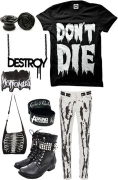 emo style / outfit / don't die / black and white / skull I like this shirt. I say 'Don't die' alot. Like when people cough. Dark Fashion, Emo Fashion, Fashion Outfits, Lolita Fashion, Fashion Boots, Cute Emo Outfits, Edgy Outfits, Rock Outfits, Band Outfits