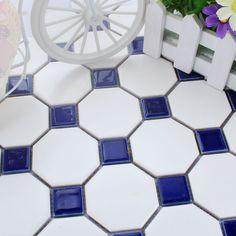 navy blue diamond and white floor tiles - Google Search