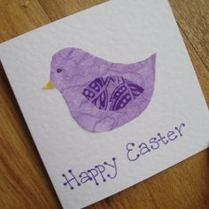 Purple bird Easter card by onelittlepug on Etsy, $2.25