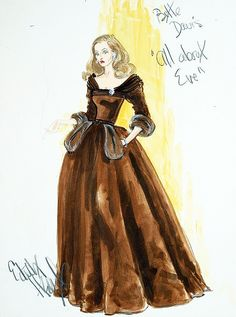 "Edith Head's costume sketch of Bette Davis in the 1950 film ""All About Eve"""