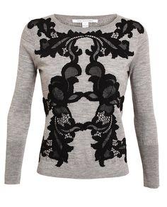 'shara' lace & wool sweater diane von furstenberg f.w2013 browns