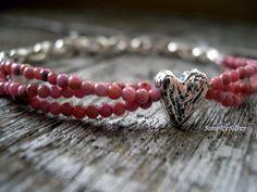 Rustic Heart Bracelet   Multi Strand Pink Jasper by SimpleeSilver
