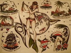 """Old school tattoo """"flash"""" by Sailor Jerry, Hawaii Museum o…   Flickr"""
