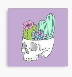 ideas succulent painting canvases acrylics for 2019 Cute Canvas Paintings, Small Canvas Art, Mini Canvas Art, Acrylic Painting Canvas, Skull Painting, Painting & Drawing, Aliens, Videos Kawaii, Paintings Tumblr