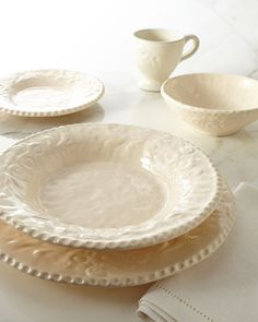 "I love beautiful dinnerware - 16-Piece Ivory ""Delizia"" Dinnerware Service by Caff Ceramiche at Horchow."