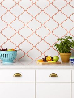 A bold grout looks great with square tiles, but it really highlights the curves of these lantern-shape tiles.