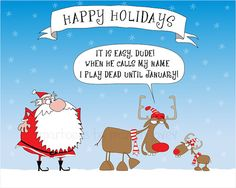 Santa and the funny reindeers greeting card by martinjovev on Etsy, $18.50