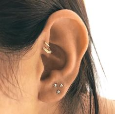triple piercing with cute studs