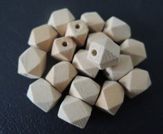 30 Pcs 13x11mm  Oblong Unfinished Faceted Natural Wood Beads   (W576)