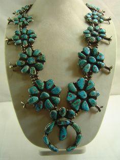 Vtg Native Navajo 455G Sterling Silver Squash Blossom Turquoise Necklace Estate | eBay