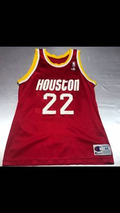 835fc81cb Champion Vintage Mens Large Size 44 Red Houston Rockets Clyde The Glide  Drexler Champion Basketball Jersey