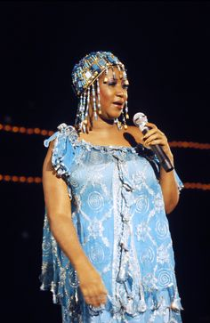 Aretha Franklin: because she's bold enough to wear what she wants and doesn't give ...what we think. Go'head ReeRee!