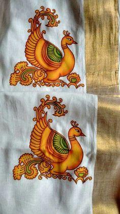 Ideas painting elephant canvas ideas for 2019 Saree Painting Designs, Fabric Paint Designs, Peacock Wall Art, Peacock Painting, Kerala Mural Painting, Indian Art Paintings, Kalamkari Painting, Madhubani Painting, Dress Painting