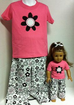 American Girl Flower Power Flannel Matching by whatauniqueboutique, $45.00