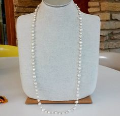 """White Baroque Freshwater Pearl Strand Necklace Hand Knotted 35"""" Endless 9mm #Unidentified #StrandString"""