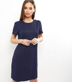 Navy Button Shoulder Detail Tunic Dress | New Look