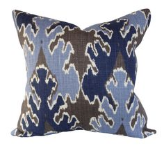 """This Kelly Wearstler Grey Indigo Ikat Bengal Bazaar Throw Pillow Cover, For Lee Jofa - Groundworks, is a Sensational Modern Decorative Pillow, that Showcases the ..""""BENGAL BAZAAR GREY / INDIGO"""".. Print Designer Pattern, From the Kelly Wearstler II Collection.  This Pattern Features an Exotic Large Scale Ikat Design on the Front, in Colors of Indigo, Blue and Brown. The Ikats are Silhouetted with Ivory Outlines and the Back is Solid Cream."""