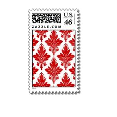 AMOROSO DAMASK: RED and WHITE Postage Stamps from Zazzle.com