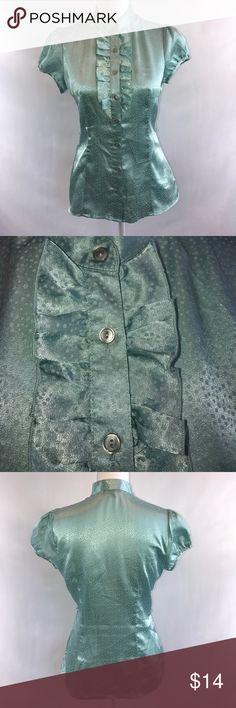 BCX Light Blue Button Down Ruffle Top Has Belt loops to add a Belt BCX Tops Button Down Shirts