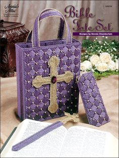 Free Plastic Canvas Patterns | home plastic canvas bookmark patterns bible tote set technique plastic ...
