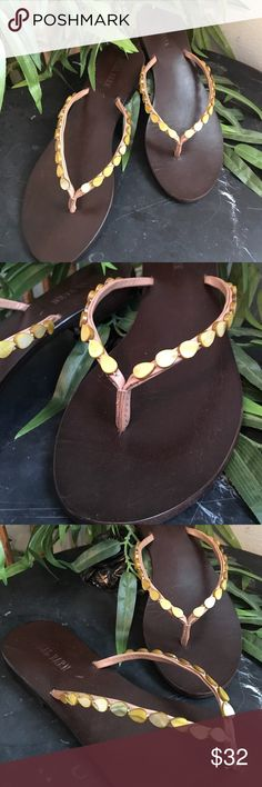 Beautiful sandals Gorgeous summer sandals. With amber colored natural stone embellishments.  Brand new. These run about a half size small. Shoes Sandals