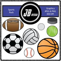 Sports FREEBIE {JB Design Clip Art for Commercial Use} Sports Pack Includes: Football Ball Soccer Ball Baseball Volleyball Basketball Golf Ball Tennis Ball Hockey Puck