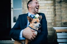 A dapper pooch with a polka dot neck tie -  Image by Roar Photography - An intimate seaside wedding with bespoke wedding dress by Rae Sims at Ashley Sims a nautical theme and loads of DIY