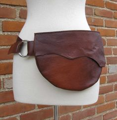 Copper Patina Brown Leather Belt Bag with Natural Edges