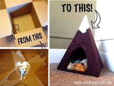 Sew DoggyStyle - Snowy Mountain Peak Pet Tent from a cardboard box.