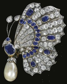 19th century: Aletto Brothers Diamond Sapphire and pearl brooch.. art work just a beautiful piece!