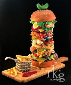 I created this burger for the International Cake Show Australia. It was awarded in the Faux Food Class and also won a Gold Award. It is all hand sculptured and painted. No moulds used, took me a very long time! There is a trend here at the. Crazy Cakes, Fancy Cakes, Pink Cakes, Unique Cakes, Creative Cakes, Cupcakes, Cupcake Cakes, Shoe Cakes, Beautiful Cakes