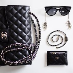 """All you need is Chanel"" chanel timeless flap classic watch premiere card holder sunglasses flatlay Yasmin_dxb instagram"
