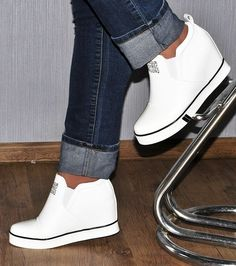 5b7ac712386e Slip on womens girls high top wedge sneakers lace up ankle boots white black