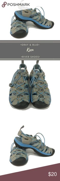 Pre-Loved Gray & Blue Keen River Shoes Size 7.5 These Keen river shoes are perfect for all your hiking, trail and river needs. They are a light grey color with baby blue accent and a dark black sole. There are some spots of yellow discoloration, see photos. These have some wear but still have tons of life left.  Size 7.5 Keen Shoes Sandals