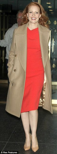 Jessica Chastain in a great coat and sheath dress